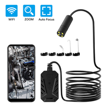 WiFi Handheld Endoscope Automatic Focusing 14mm Underwater Lens Industrial Borescope Retractable 500W Pipe Car Inspect Camera