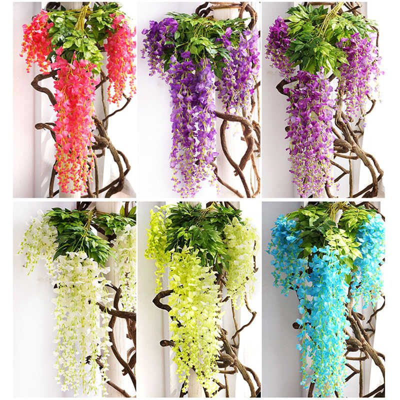 1 PC Sutra Bunga Wisteria Buatan Ivy Tanaman Palsu Pohon Garland Menggantung Bunga untuk Dekorasi Pernikahan Rumah Hotel Dekorasi