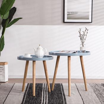 Proste stoliki do sypialni nowoczesne stoliki do sofy Nordic drewniany stolik kawowy balkon stolik kawowy meble kuchenne tanie i dobre opinie CN (pochodzenie) Z tworzywa sztucznego China 55*60cm Europa i ameryka ALIEN Samowystarczalny