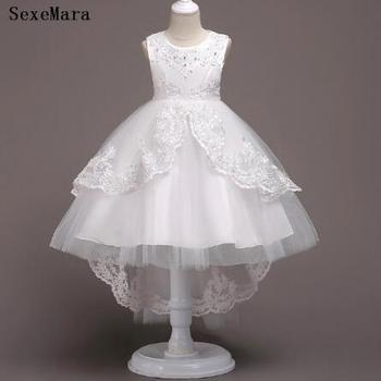 Princess Flower Girl Dress Tutu Kids Birthday Party Kids Dresses For Girls Children's Costume Teenager Prom Designs New children s white gown flower girls tutu dress birthday weddig party dress princess girls dresses robe fille costume for kids page 1