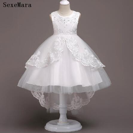 Summer Dresses For Girls 1st Year Birthday Lace Applique Wedding Party Dress Infant Toddler 1-14yrs Kids Cloth
