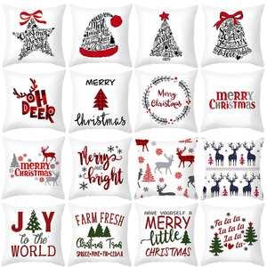 Christmas-Pillowcase Ornament Navidad Xmas-Gifts Santa-Claus Home Elk Cartoon for 45x45cm
