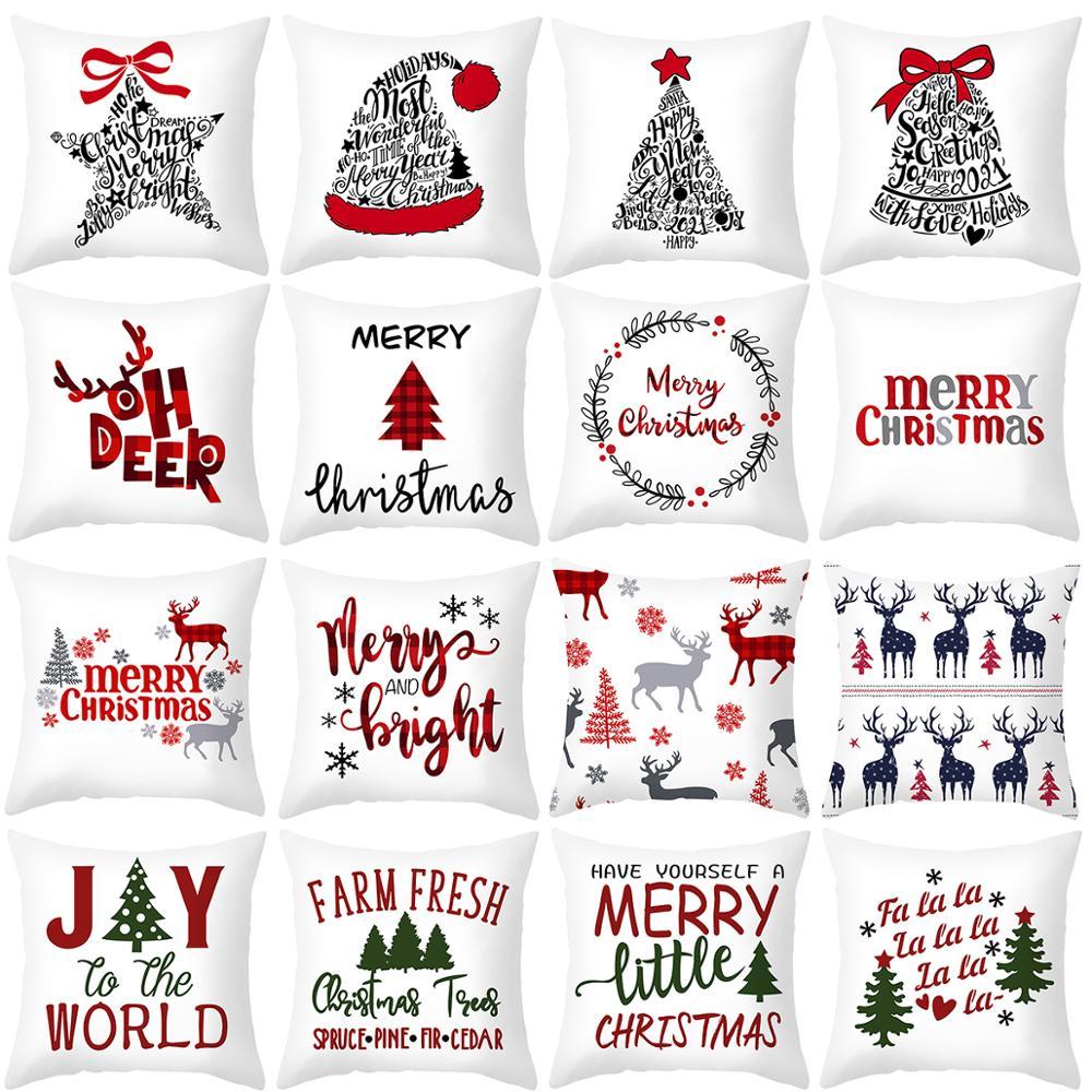 45x45cm Cartoon Weihnachtsmann Elch Weihnachten Kissenbezug - Partyartikel und Dekoration - Foto 2