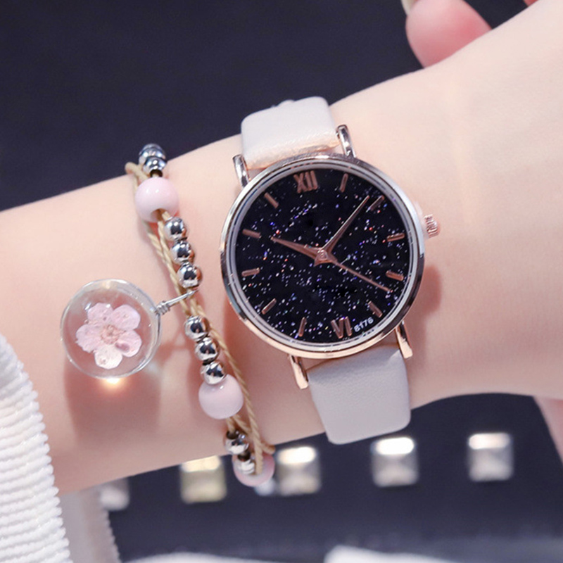 Women Student Quartz Watch Fashion Starry Sky Round Dial With Adjustable Strap TT@88