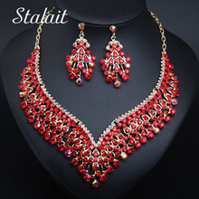 Necklace-Set Costume-Accessories Drop-Earrings Choker Rhinestone Bridal Wedding Gold-Color