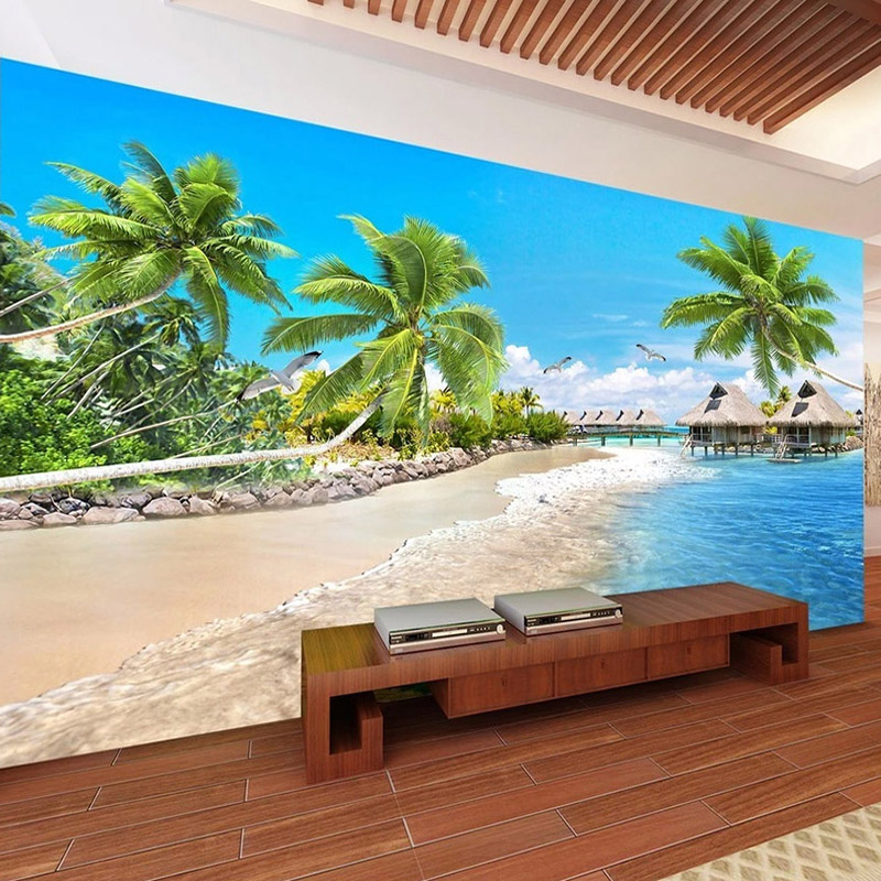 Custom Wall Paper 3D Beach Coconut Tree Landscape Large Mural Photo Wallpaper For Living Room Bedroom Wall Home Decor Painting