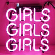 Пользовательский розовый девушки девочки синий белый красный розовый темно синий фиолетовый бирюзовый зеленый желтый стеклянный неосветильник светлый знак пивной бар