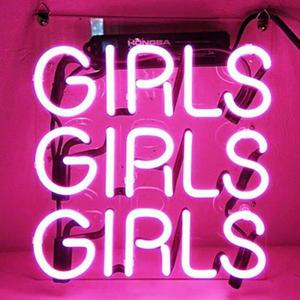 Image 1 - Custom Pink Girls Girls Girls Blue White Red Pink Deep blue Purple Turquoise Green Yellow Glass Neon Light Sign Beer Bar