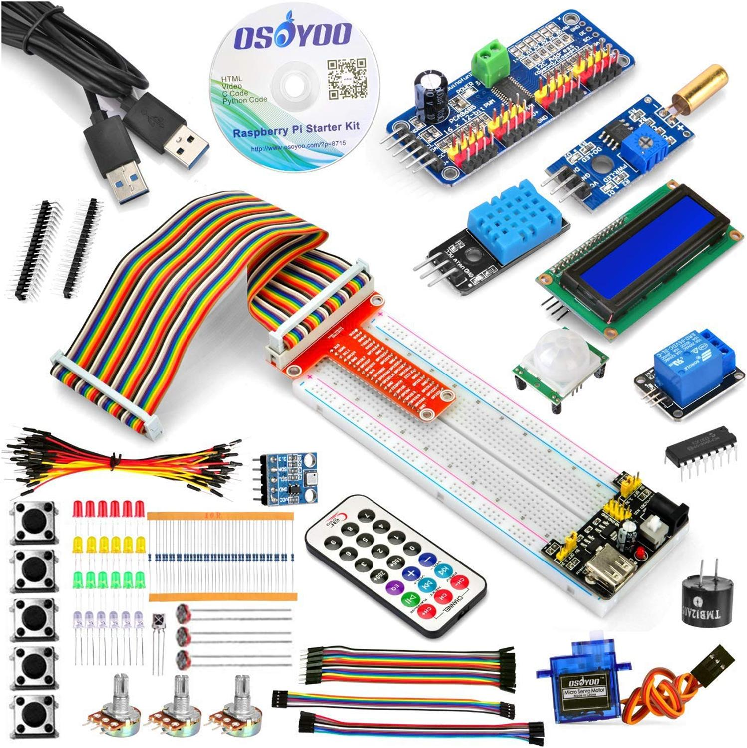 Raspberry Pi 3 Starter Kit DIY Electronic RPi Learning Kit for  Beginner Display pca9685 with C/Python code and video tutorialDemo  Board