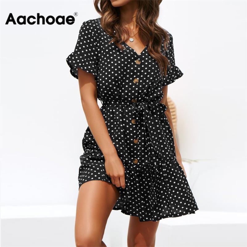 Aachoae Women Summer Beach Dress Casual Short Sleeve Polka Dot Dress Boho Mini Party Dress Elegant V Neck Sundress Vestidos