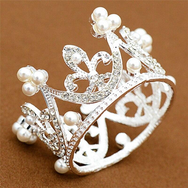 Тиара с жемчугом для девочек, тиара с кристаллами в форме цветка, вечерние мини-тиара, свадебные аксессуары для волос, ювелирные украшения