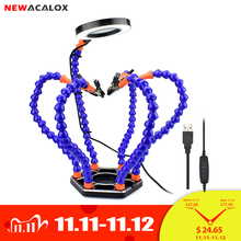 NEWACALOX Third Hand Soldering PCB Holder Tool Six Arms Helping Hands Crafts Repair Helping Welding Station 3X USB LED Magnifier