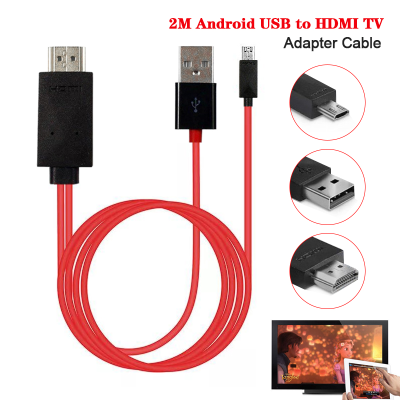 1080P HDMI Cable 2m Android USB To HDMI Adapter Micro USB To HDMI HD TV Cable Adapters For Android Samsung S3 S4 S5 Phones