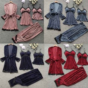 Image 2 - Gold velvet 4 pieces pajamas women sleepwear warm winter pajamas sets sexy lace robe loungewear with chest pad home service
