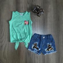 Новое поступление, летние шорты для маленьких девочек детская одежда, изысканный мятный топ с бантом, джинсовые шорты с леопардовым принтом и бантом