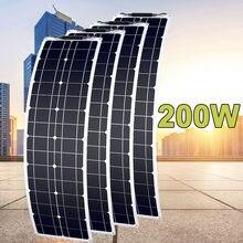 50w 2 pçs 3 pçs 100w 200 12v painel solar para casa 150 semi flexível painéis solares para casa acampamento rv barco
