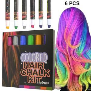 Цветная одноразовая краска для волос, 6 шт., временная детская краска для волос, Нетоксичная портативная моющаяся краска для волос, ручка для...
