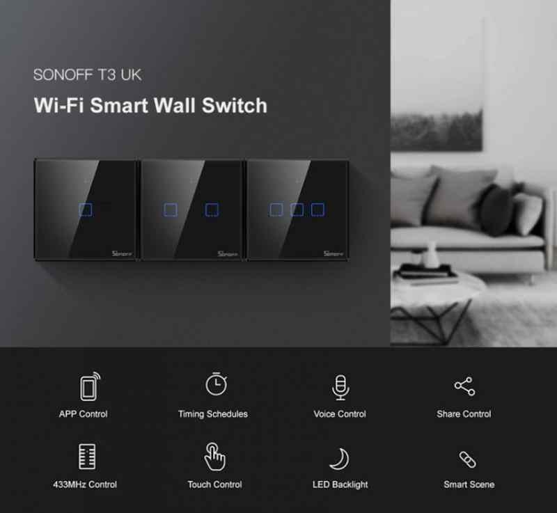 US UK 1//2//3 Gang TX3 Series WIFI Wall Switch 433Mhz RF Smart touch Sonoff EU