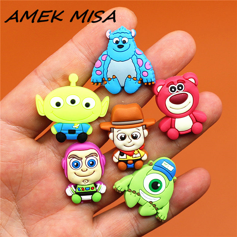 6pcs/Set PVC Cartoon Shoe Charms Toy Story Shoe Decorations Woody Shoe Buckles Accessories Fit Croc JIBZ Party Kid's Gifts U109