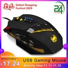 ZELOTES ratón óptico C 12 con cable USB para videojuegos, 12 Botones programables, para juego de ordenador, 4 DPI ajustables, 7 LED, ratón con luces
