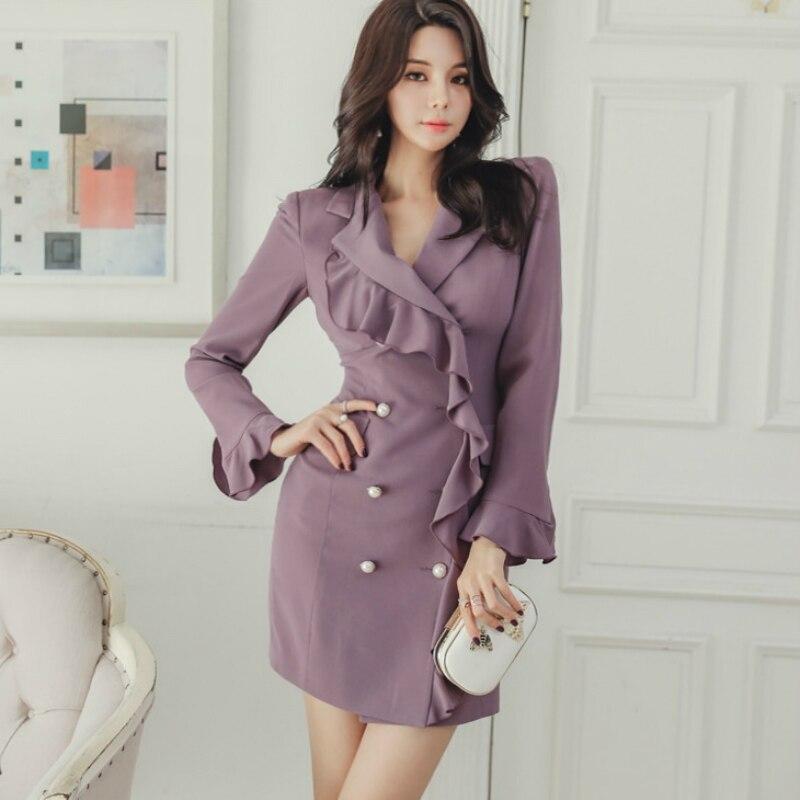 Nouveauté décontracté Mini robe violette femmes Flare manches Double bouton gaine Blazer robe femmes à volants OL travail bureau automne robe