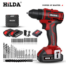 HILDA 16.8V/21V Brushless Electric Drill Cordless Screwdriver Lithium Battery  Mini Drill Power Tools For Woodworking