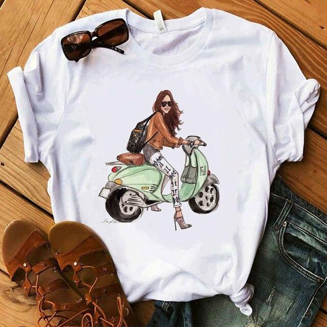 Vogue Blink mujer camiseta maquillaje labial Seaside T verano señora Streetwear bolsa de lujo camisetas 3
