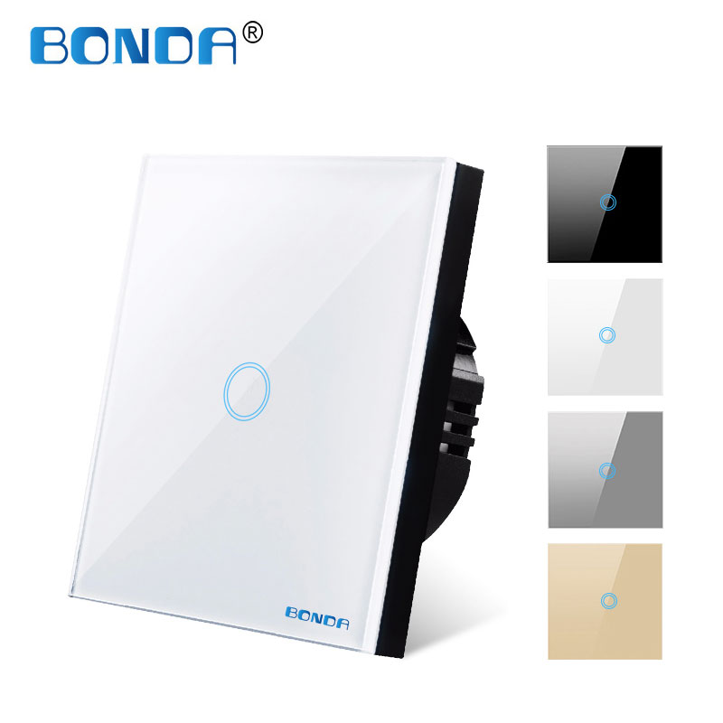 Light Touch Switch Sensor Switches Wall Led 1 Way 110v 220v 220 V Lamp Button on Off Controller Waterproof Tempered Glass Panel