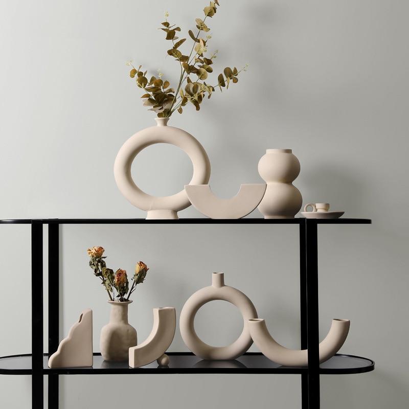 2020 נורדי מינימליסטי שולחן עבודה קרמיקה אגרטל קישוטי מיובש פרח פרח הסדר Creative אמנות סלון אגרטלי קישוט