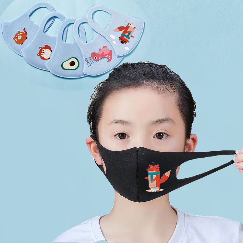 10Pcs PM2.5 Summer Children Mask Breathable Cartoon Animals Thicken Smog Mask Dust Mask Fits 4-12 Years Old Kids Washable 3