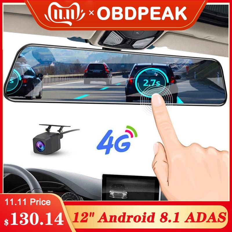 2019 12 Inch Android 8.1 Car DVRs Camera GPS Navi Bluetooth FHD Rear View Mirror With Camera DVR Recorder 4G Wifi ADAS Dash Cam