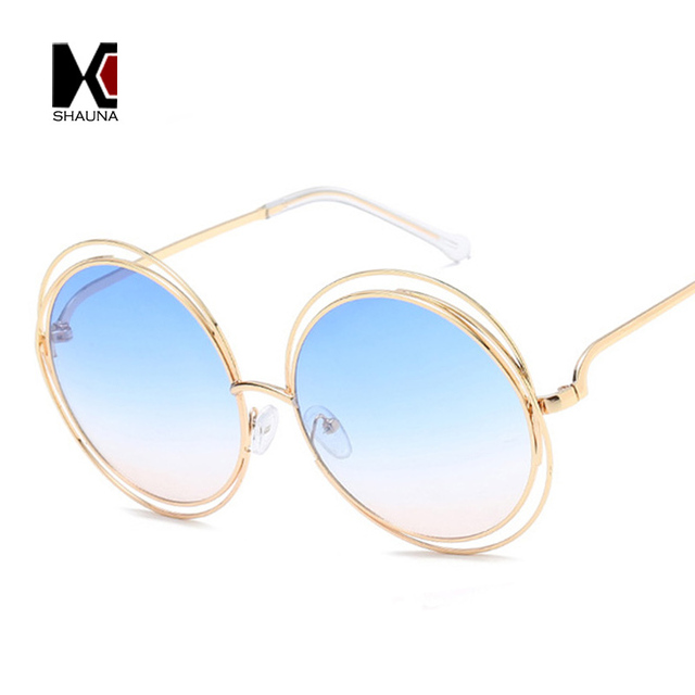 Vintage Oversize Round Sunglasses Women Alloy Around Hollow Frame Brand Designer Fashion Circling Frog Sun Glasses UV400 6