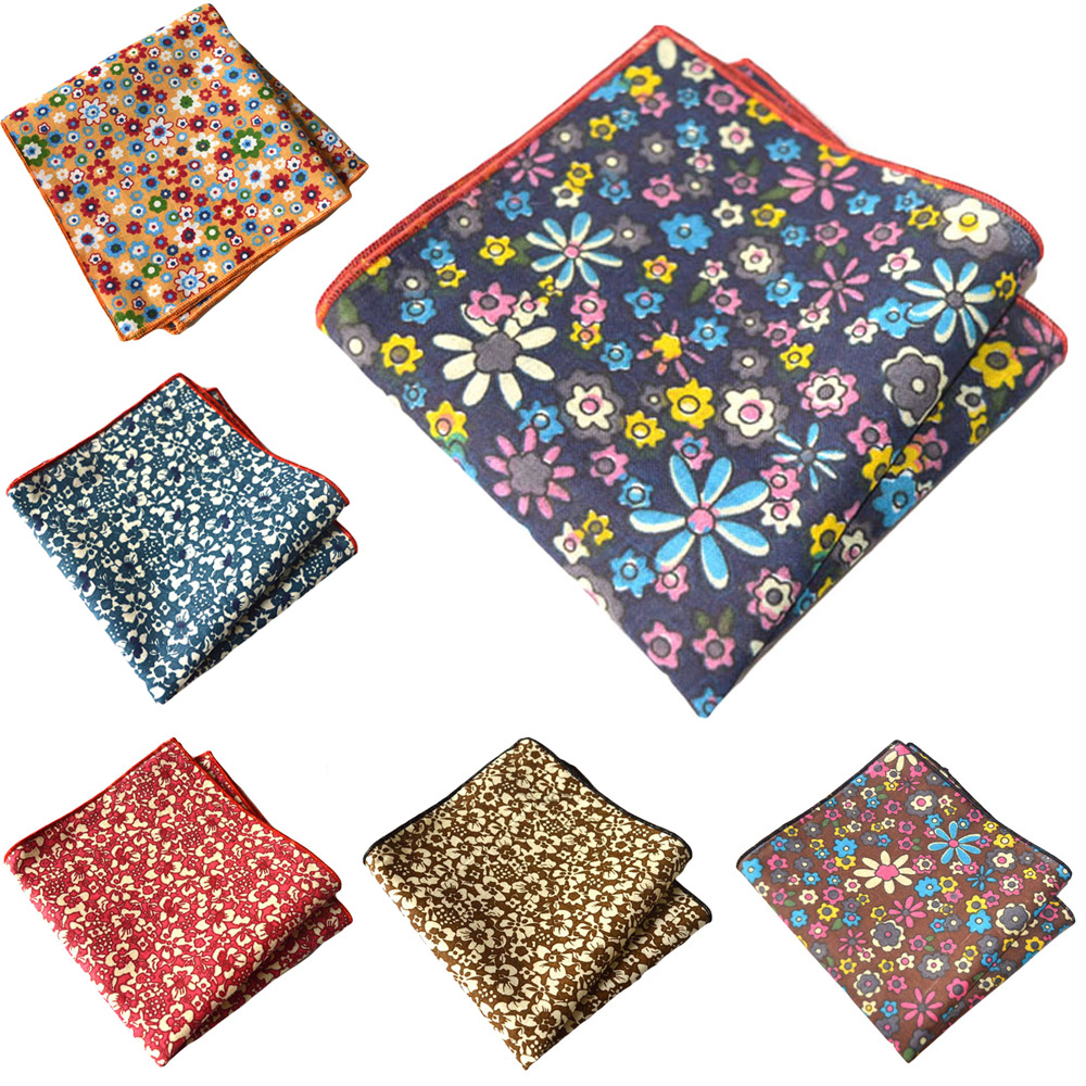 Mens Floral Handkerchief Wedding Party Flower Printed Formal Pocket Square