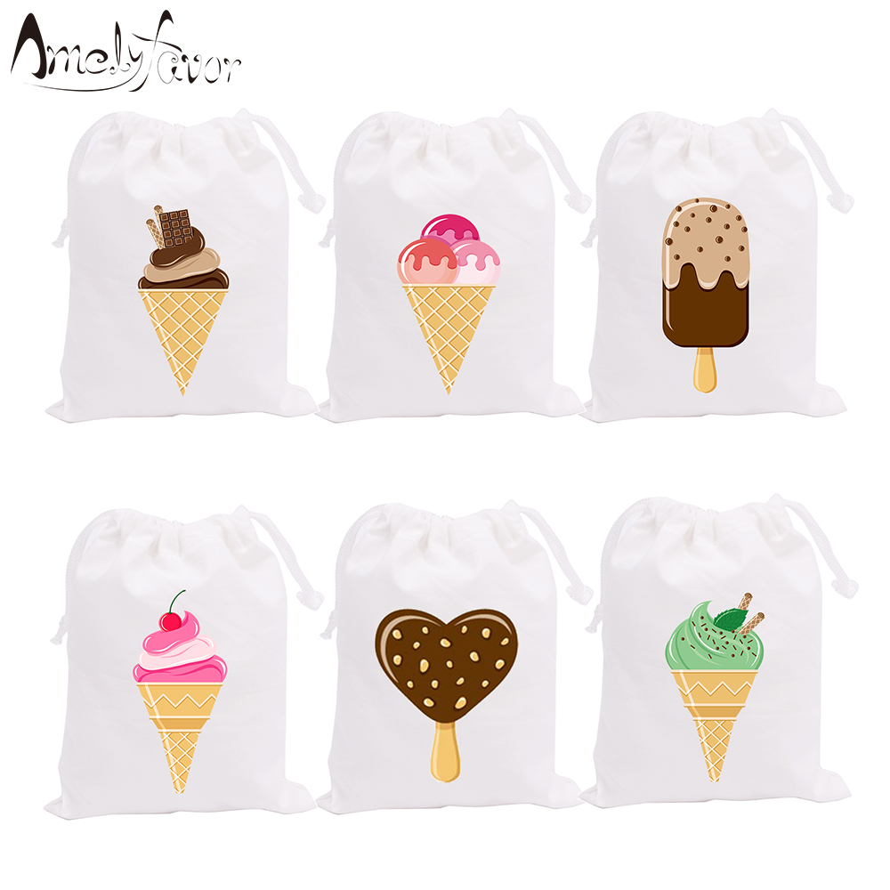Ice-cream Theme Party Bags Candy Bag Gift Bags Tea Time Icecream Dessert Decorations Event Birthday Party Container Supplies
