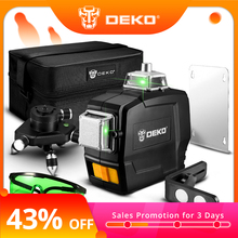 DEKO Laser-Level-Horizontal Vertical-Cross-Lines 12-Lines Outdoors Green Series 3D DC