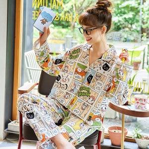 Image 5 - 2019 donne Pigiami Set di Autunno Inverno Nuove Donne Pigiama Abbigliamento In Cotone Lungo Magliette E Camicette Set Pigiama Femminile Set Vestito di Notte Degli Indumenti Da Notte