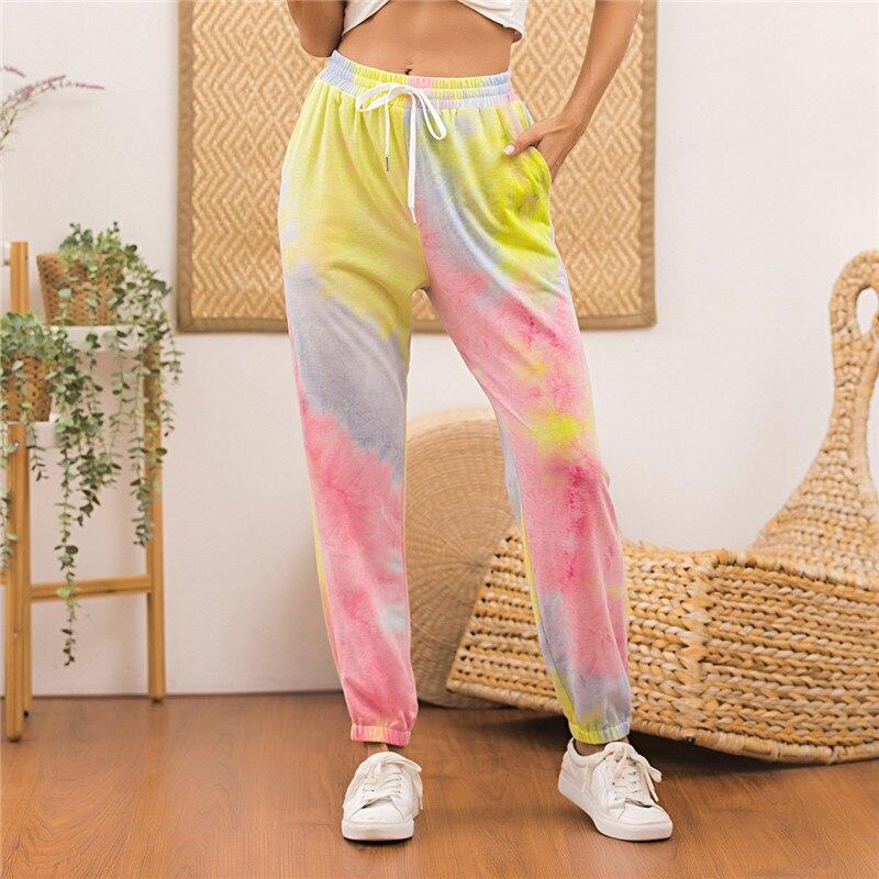 Tie Dye Printed Sweatpants Women Casual Loose Long Trousers Elastic High Waist Pants Capris Joggers Streetwear