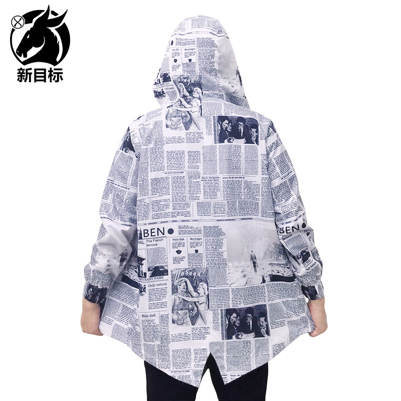 COUPLE'S 2019 Autumn Europe And America Fashion Brand Coat English Newspaper Printed Loose-Fit Mid-length Waterproof Trench Coat