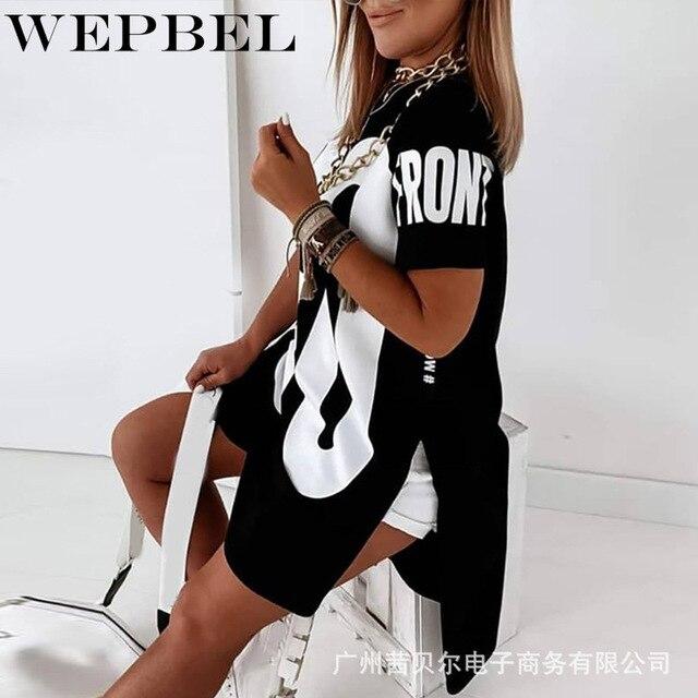 WEPBEL Women Casual Loose Letter Print Shirt Dress Ladies Plus Size Short Sleeve O Neck Mini Dress 2