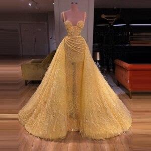 Image 2 - נוצץ שמלות נשף צהוב אונליין עם גדילים פאייטים סקסי אשליה ספגטי רצועות בלינג בלינג נשים פורמליות שמלות