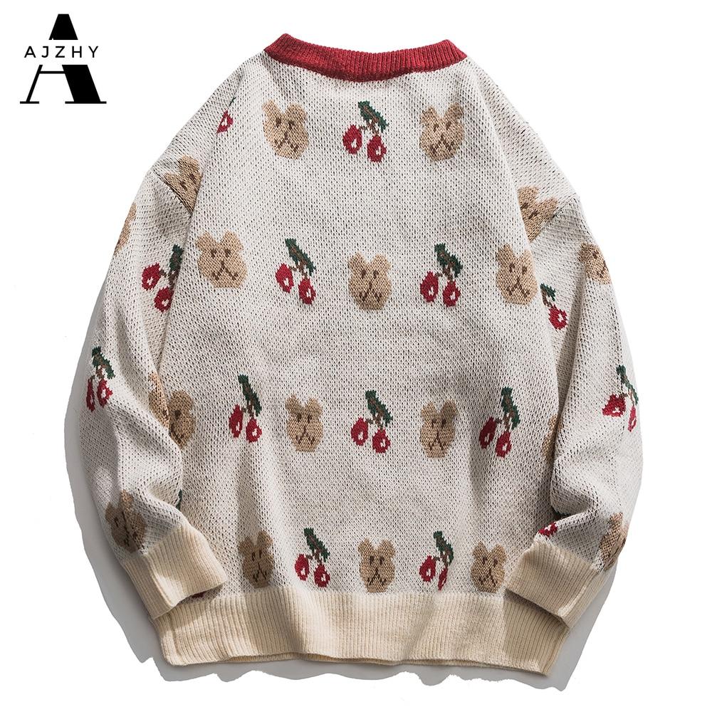 Embroidery Bears Knitted Sweaters Oversize Streetwear Hip Hop Men 2020 Winter Harajuku Casual Knitwear Sweater Fashion