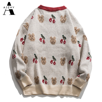 Embroidery Bears Knitted Sweaters Oversize Streetwear Hip Hop Men 2020 Winter Harajuku Casual Knitwear Sweater