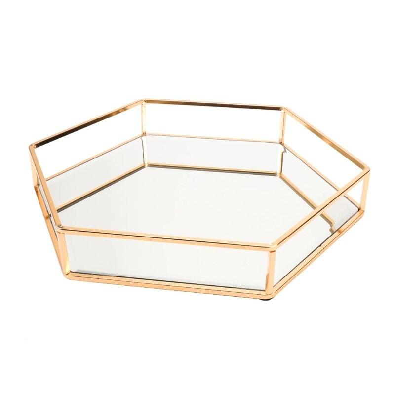 Gold Gold Mirror Jewelry Tray Perfume Tray Mirror Vanity Tray Dresser Tray Ornate Tray Metal Decorative Tray Jewelry Perfume For