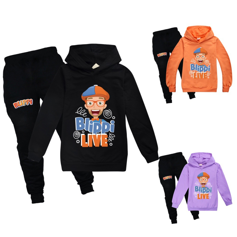 New Hot Sale BLIPPI Hoodies Suit Boys Girls Cotton Pullover Hoodies Pants Cartoon Casual Sweatshirt Sportswear Tops for Children 1