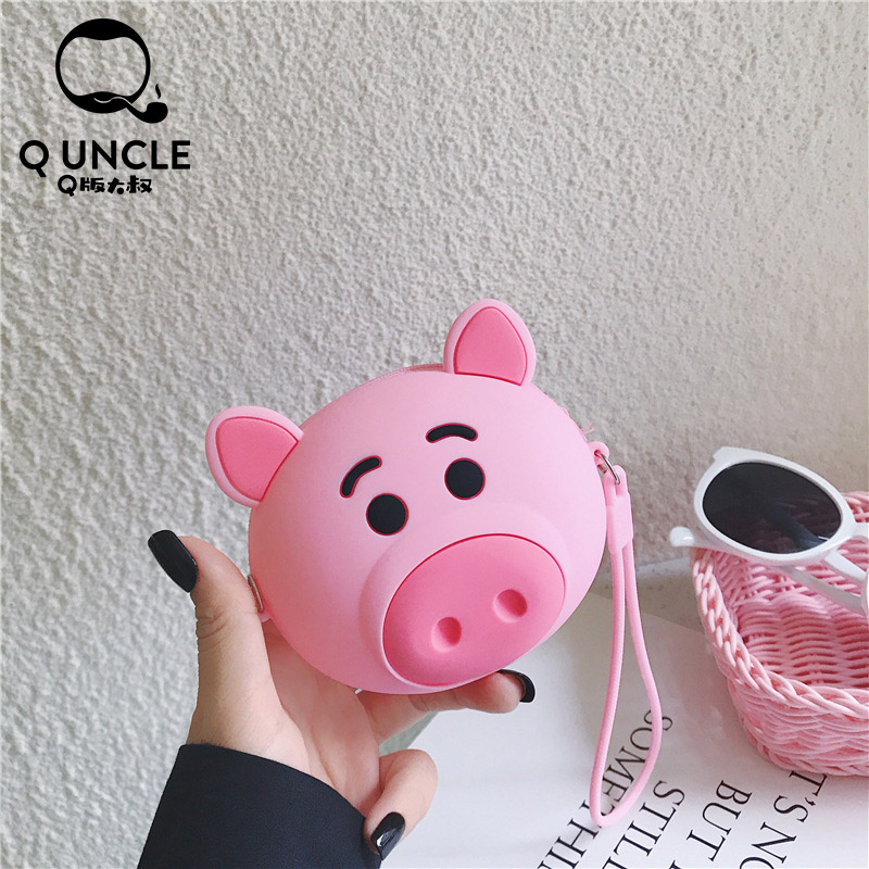 Q UNCLE Pink Cute Little Pig Coin Pouch Chain Messnger Bags Baby Girls Coin Purse Silicone Mini Kawaii Wallet Waterproof Pouch