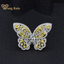 Fine-Jewelry Wedding-Engagement-Ring Citrine Created Moissanite Gemstone Butterfly Wholesale