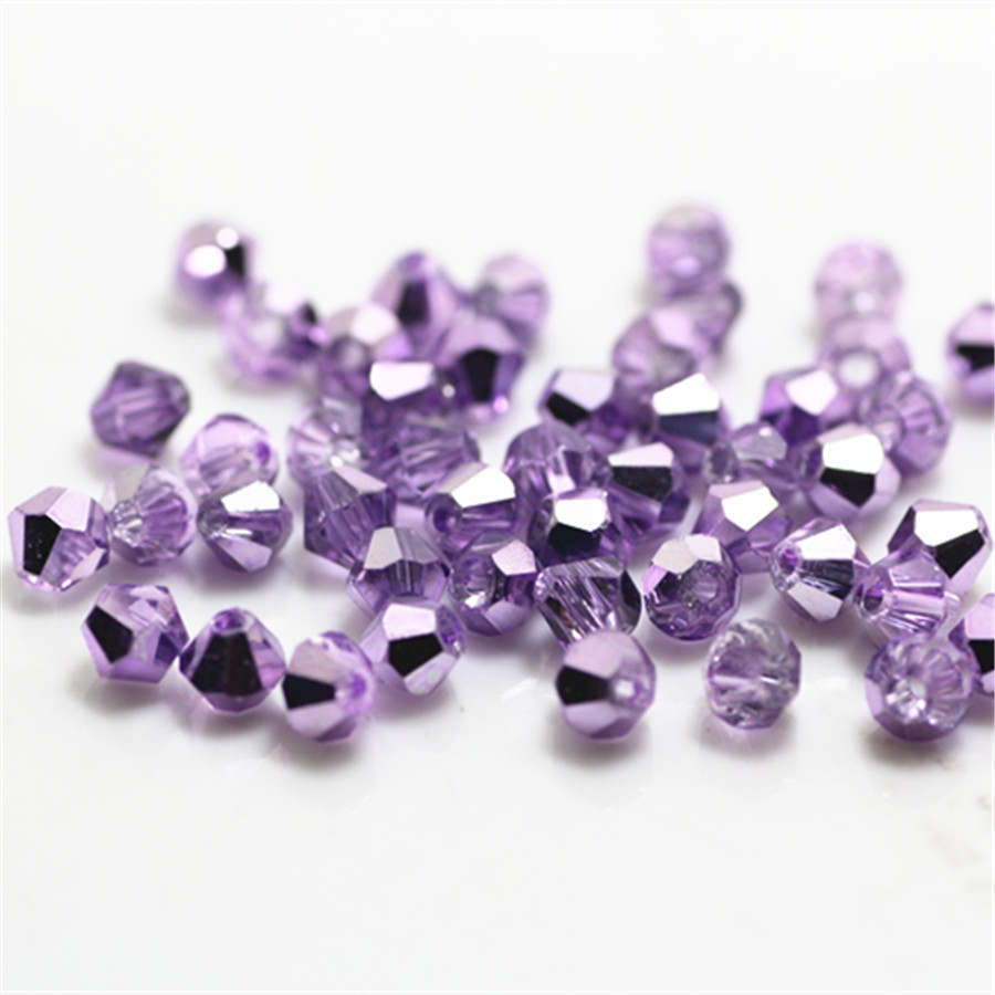 Isywaka Ran Light Purple Color 100pcs 4mm Bicone Austria Crystal Bead Charm Glass Beads Loose Spacer Bead For DIY Jewelry Making