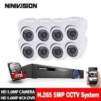 8CH 5MP Ультра HD CCTV камера система 5в1 H.265 + DVR и 8 шт. 5MP TVI Всепогодная белая домашняя система видеонаблюдения