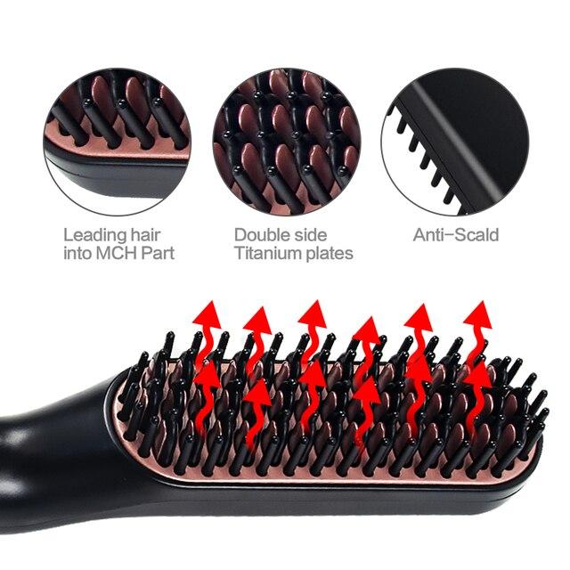 3 in 1 Multifunctional Hair Comb Brush Beard Straightener Hair Straighten Straightening Comb Hair Curler Quick Hair Styler 3