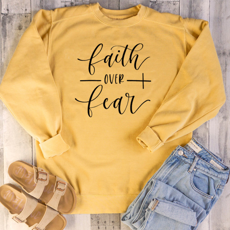 Christian Hope Love Hoodies Faith Over Fear Sweatshirt Women Mom Life Positive Strength Pullover Girl Casual Jumper